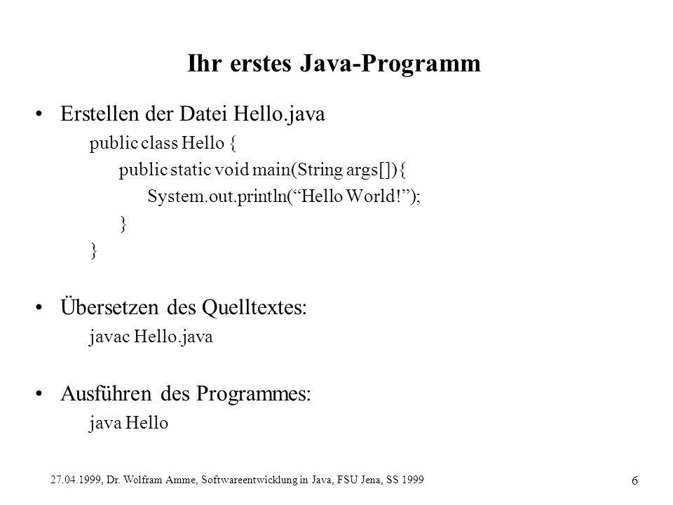 Ihr erstes Java-Programm