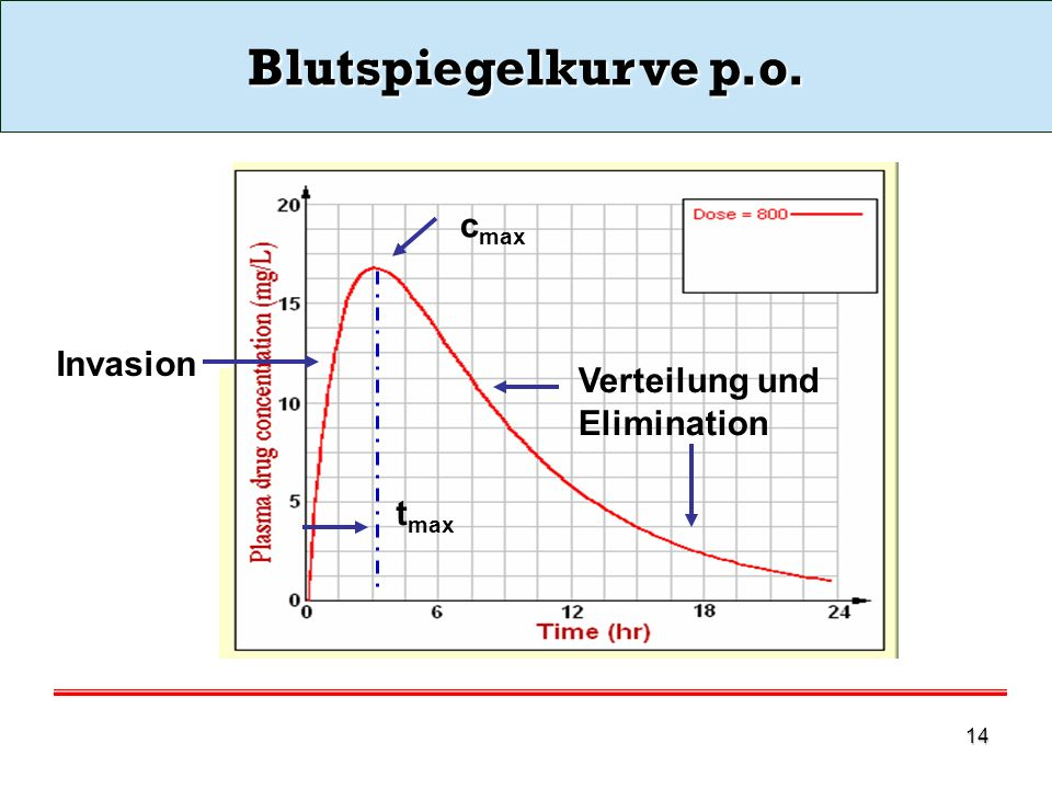 Blutspiegelkurve p.o. cmax Invasion Verteilung und Elimination tmax