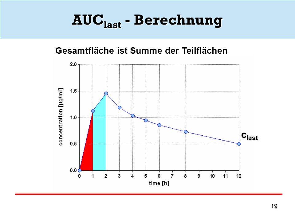 AUClast - Berechnung clast Gesamtfläche ist Summe der Teilflächen