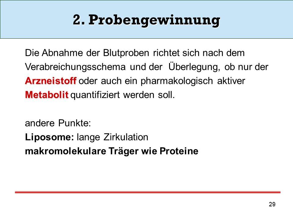 2. Probengewinnung Die Abnahme der Blutproben richtet sich nach dem