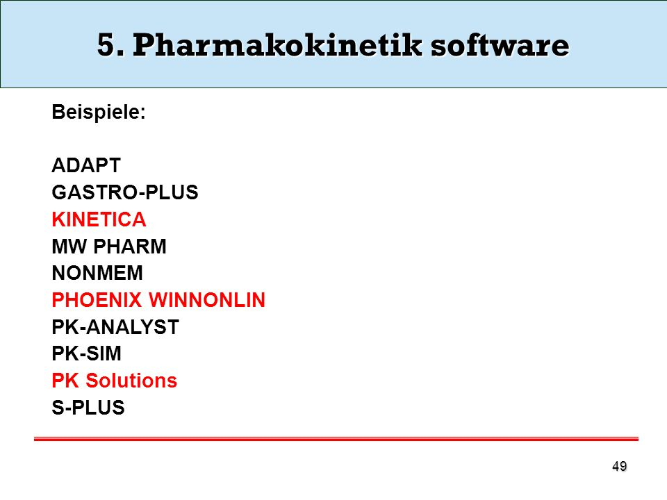 5. Pharmakokinetik software