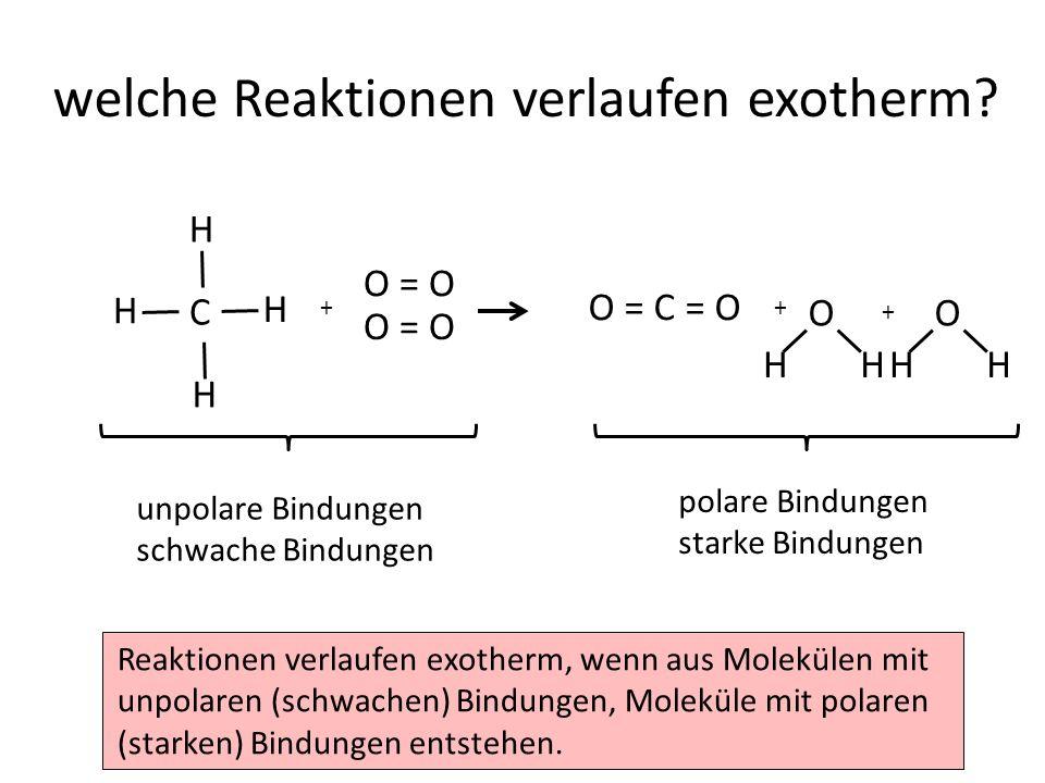 welche Reaktionen verlaufen exotherm