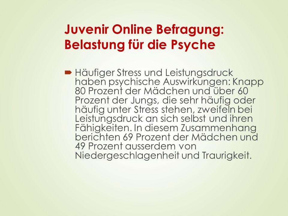 Juvenir Online Befragung: Belastung für die Psyche