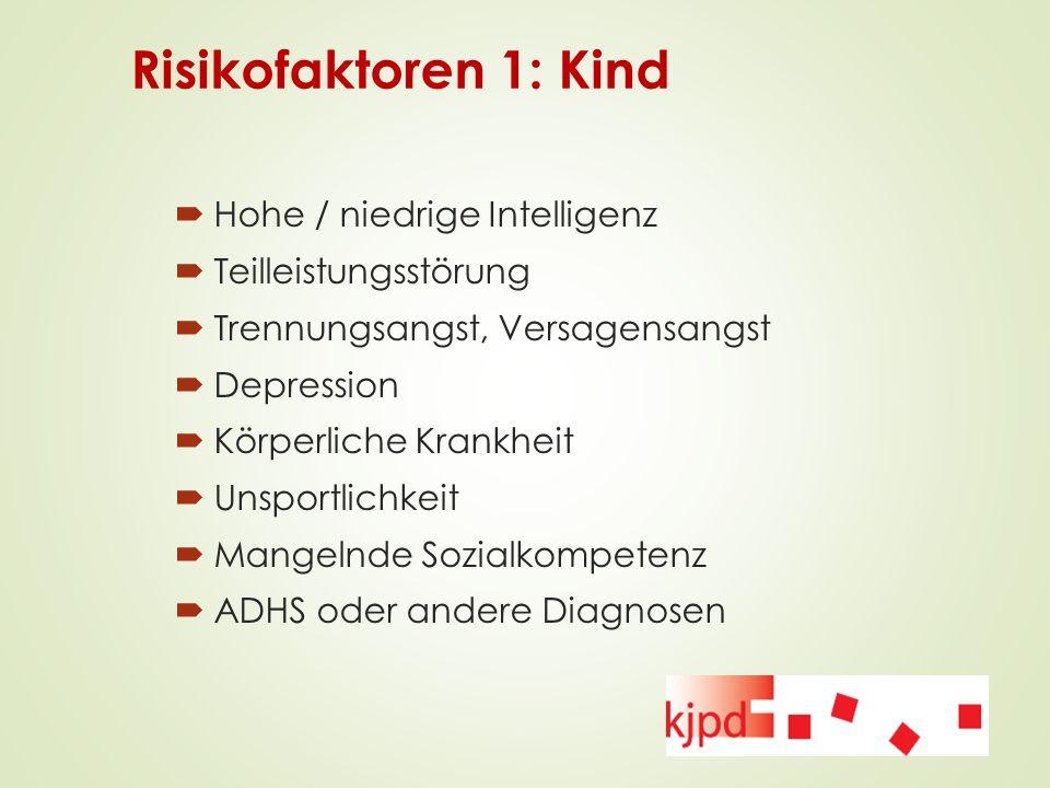 Risikofaktoren 1: Kind Hohe / niedrige Intelligenz