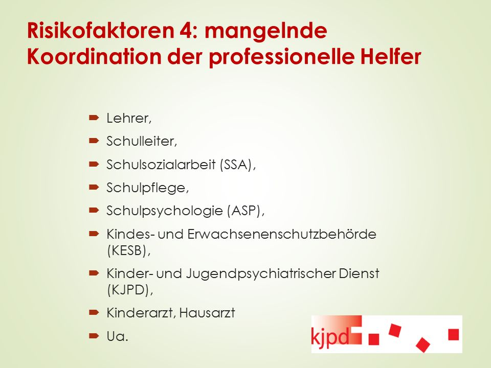 Risikofaktoren 4: mangelnde Koordination der professionelle Helfer