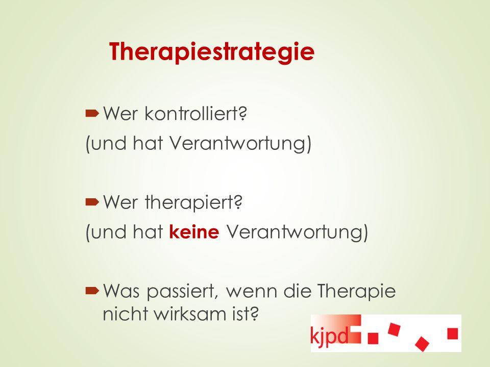 Therapiestrategie Wer kontrolliert (und hat Verantwortung)