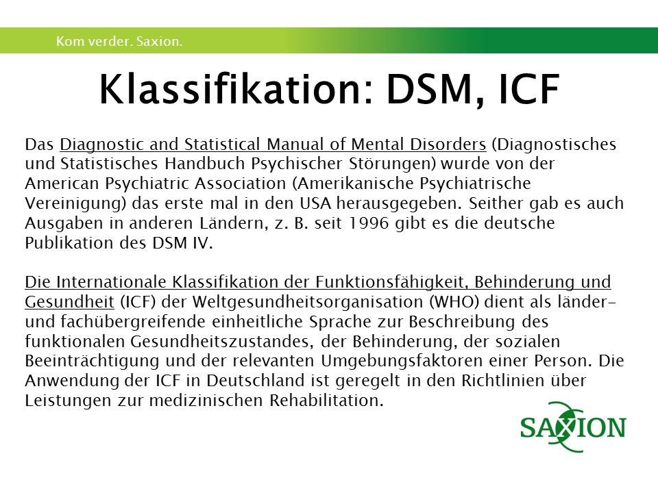 Klassifikation: DSM, ICF