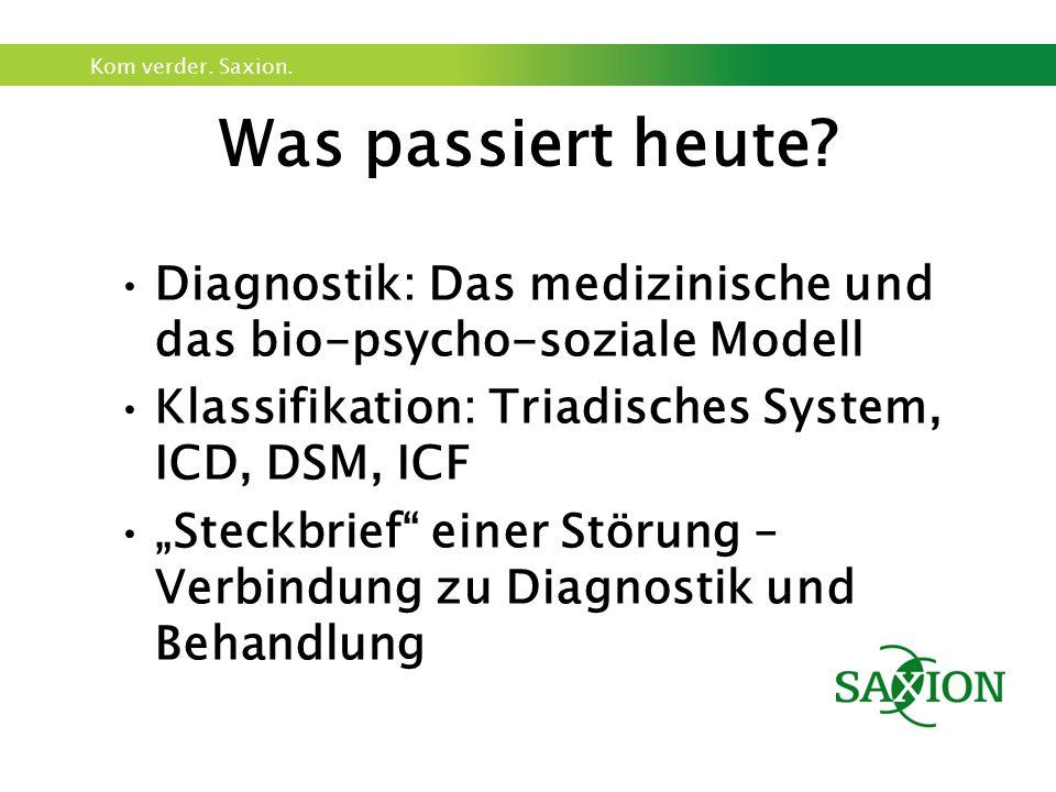 Was passiert heute Diagnostik: Das medizinische und das bio-psycho-soziale Modell. Klassifikation: Triadisches System, ICD, DSM, ICF.