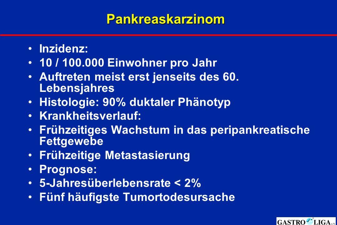Pankreaskarzinom Inzidenz: 10 / 100.000 Einwohner pro Jahr