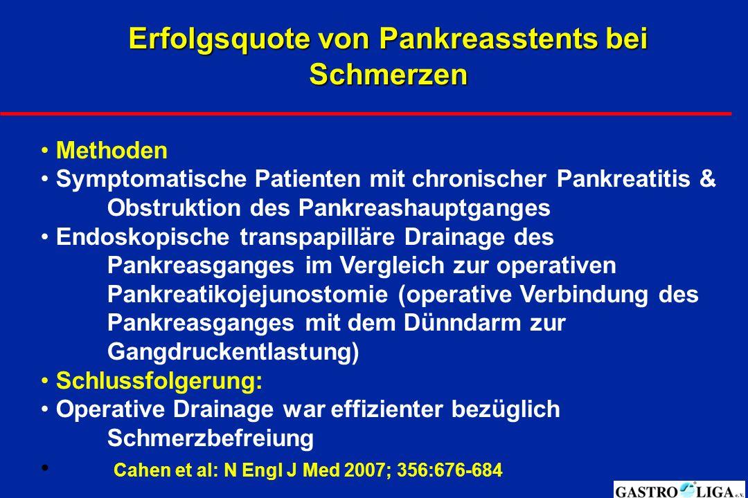Erfolgsquote von Pankreasstents bei Schmerzen