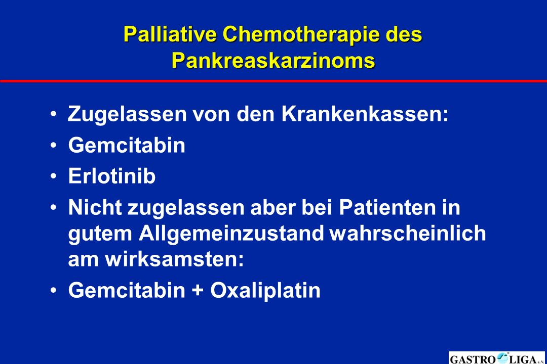 Palliative Chemotherapie des Pankreaskarzinoms