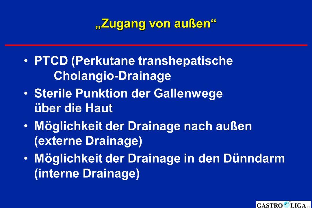 """""""Zugang von außen PTCD (Perkutane transhepatische Cholangio-Drainage. Sterile Punktion der Gallenwege über die Haut."""