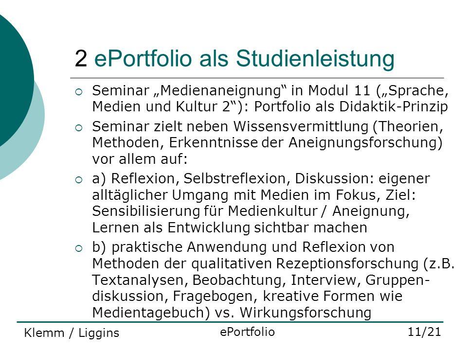 2 ePortfolio als Studienleistung