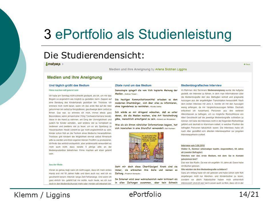 3 ePortfolio als Studienleistung