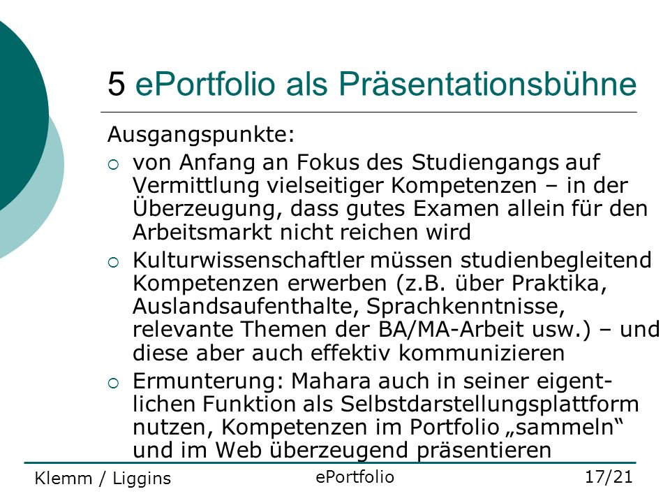 5 ePortfolio als Präsentationsbühne
