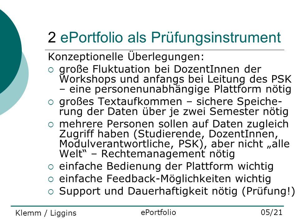 2 ePortfolio als Prüfungsinstrument