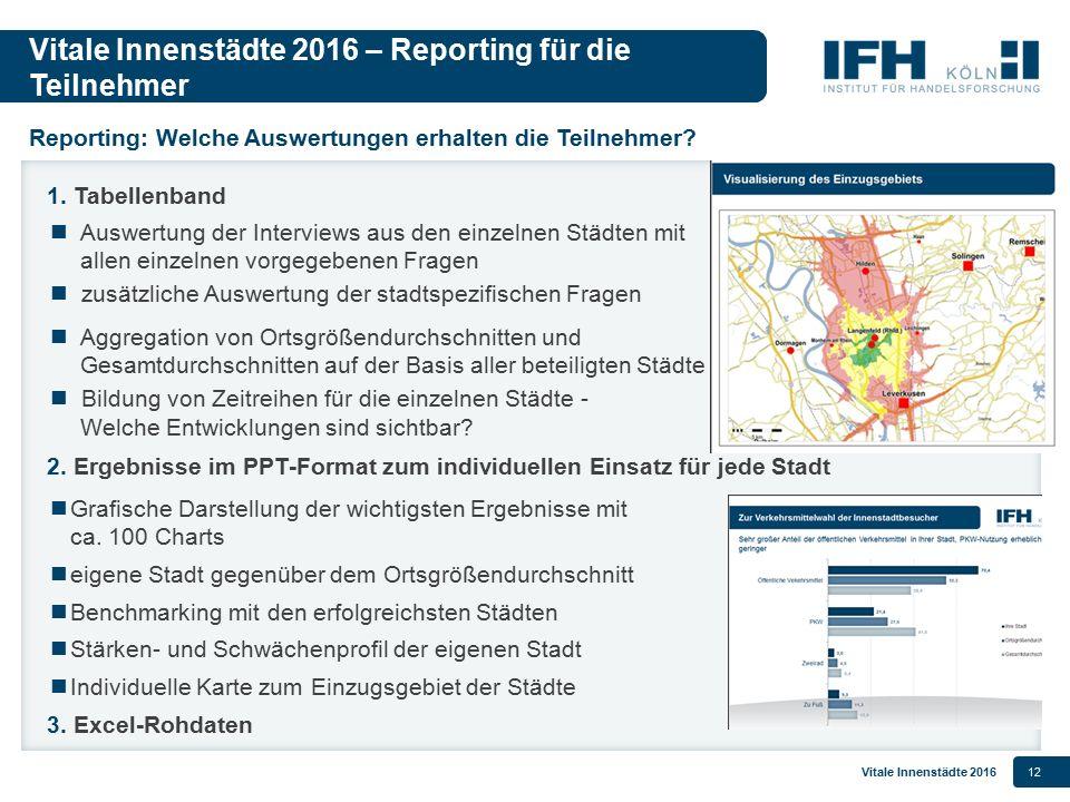 Vitale Innenstädte 2016 – Reporting für die Teilnehmer