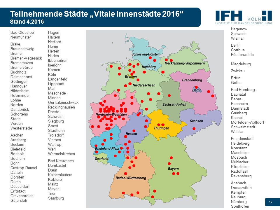 """Teilnehmende Städte """"Vitale Innenstädte 2016 Stand 4.2016"""