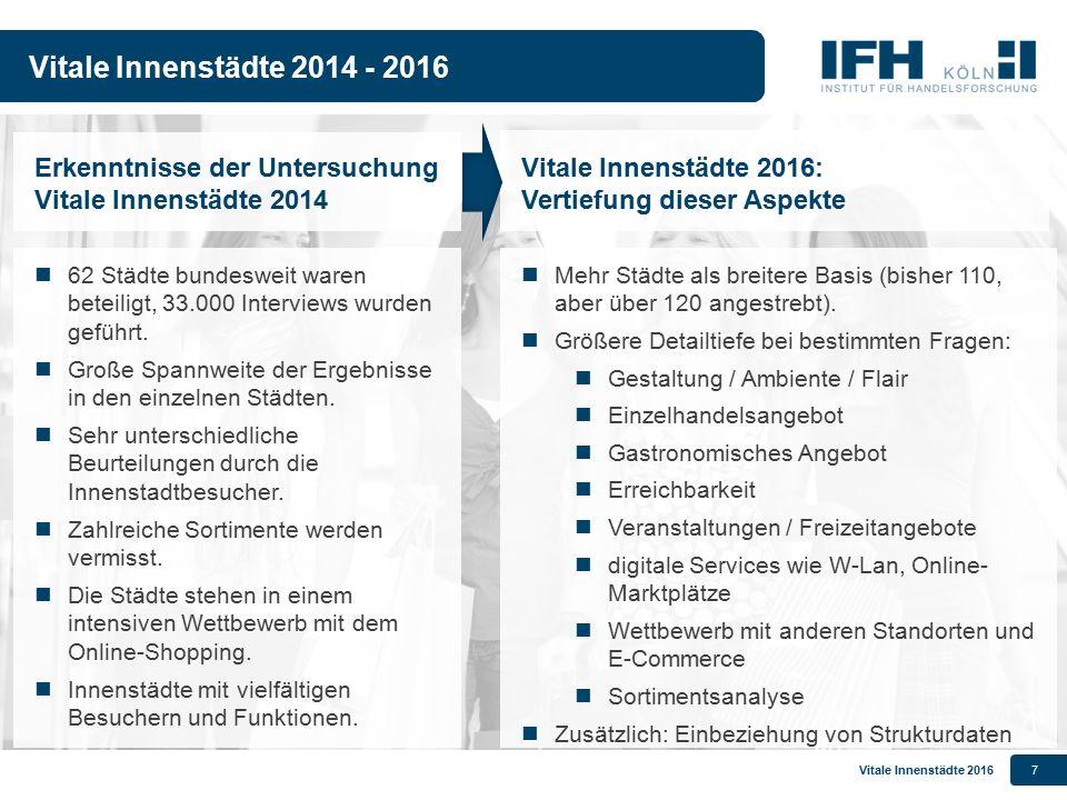 Vitale Innenstädte 2014 - 2016 Erkenntnisse der Untersuchung Vitale Innenstädte 2014. Vitale Innenstädte 2016: Vertiefung dieser Aspekte.