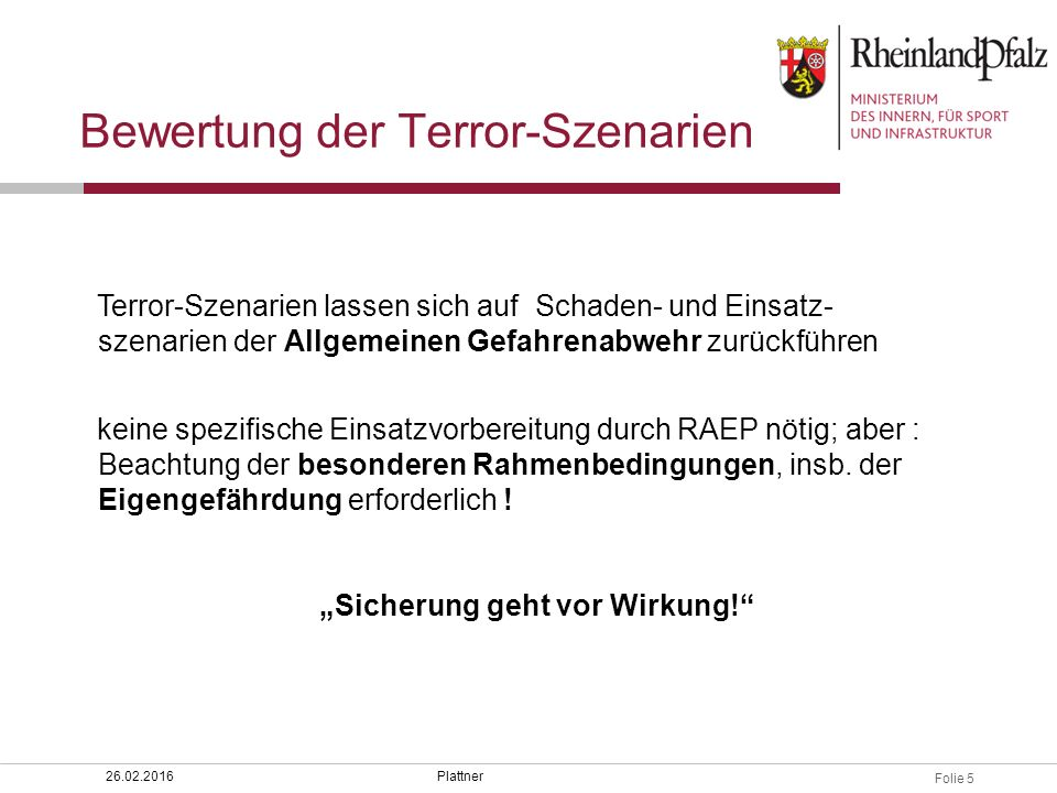 Bewertung der Terror-Szenarien