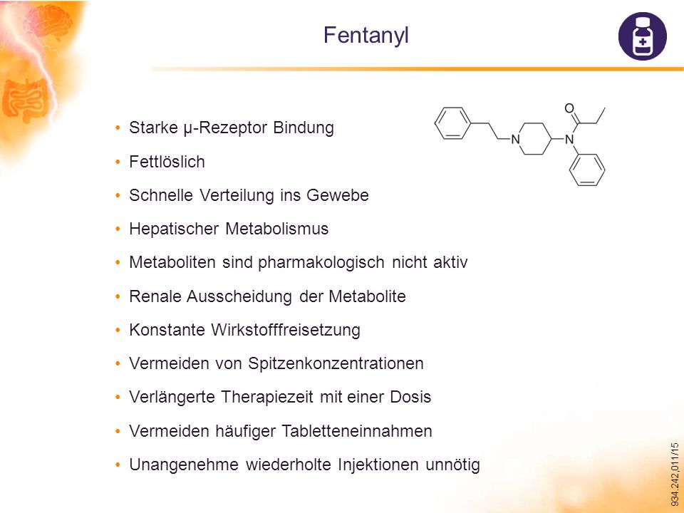 Fentanyl Starke µ-Rezeptor Bindung Fettlöslich