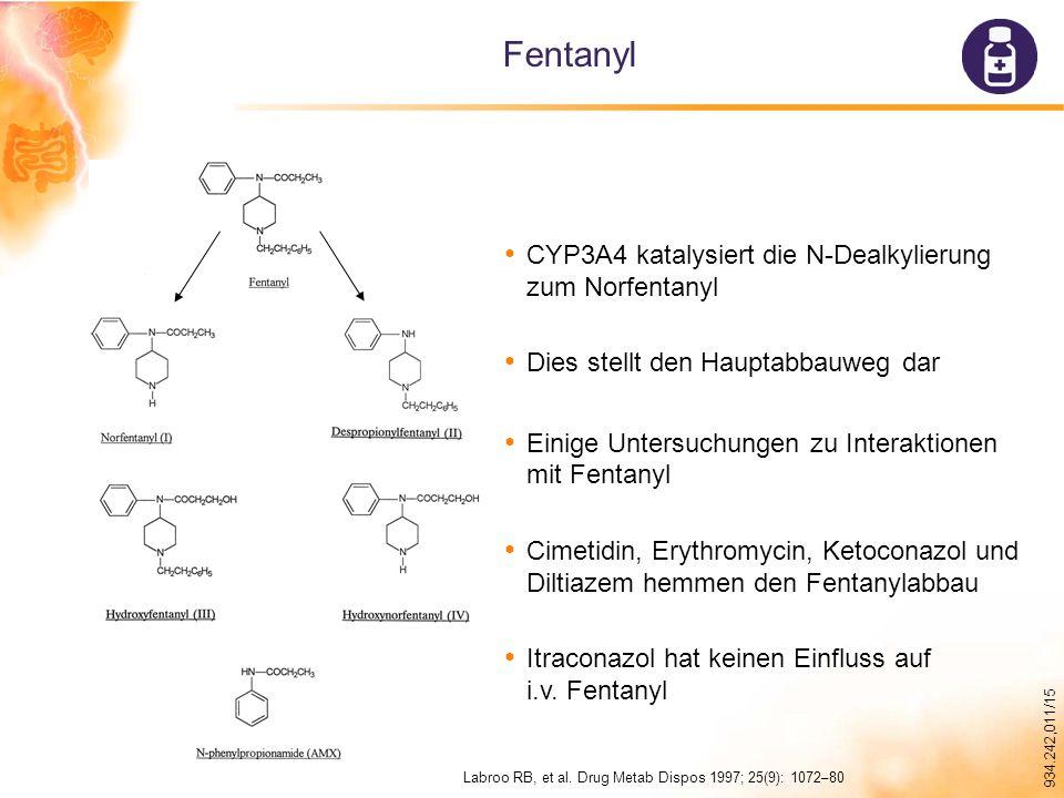 Fentanyl CYP3A4 katalysiert die N-Dealkylierung zum Norfentanyl