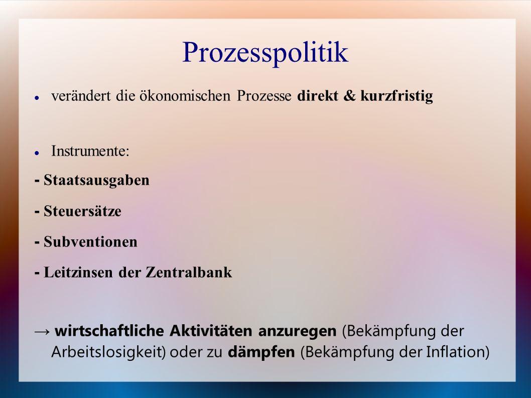 Prozesspolitik verändert die ökonomischen Prozesse direkt & kurzfristig. Instrumente: - Staatsausgaben.