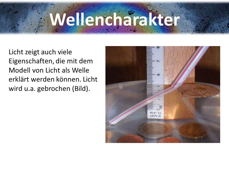 Wellencharakter Licht zeigt auch viele Eigenschaften, die mit dem Modell von Licht als Welle erklärt werden können.