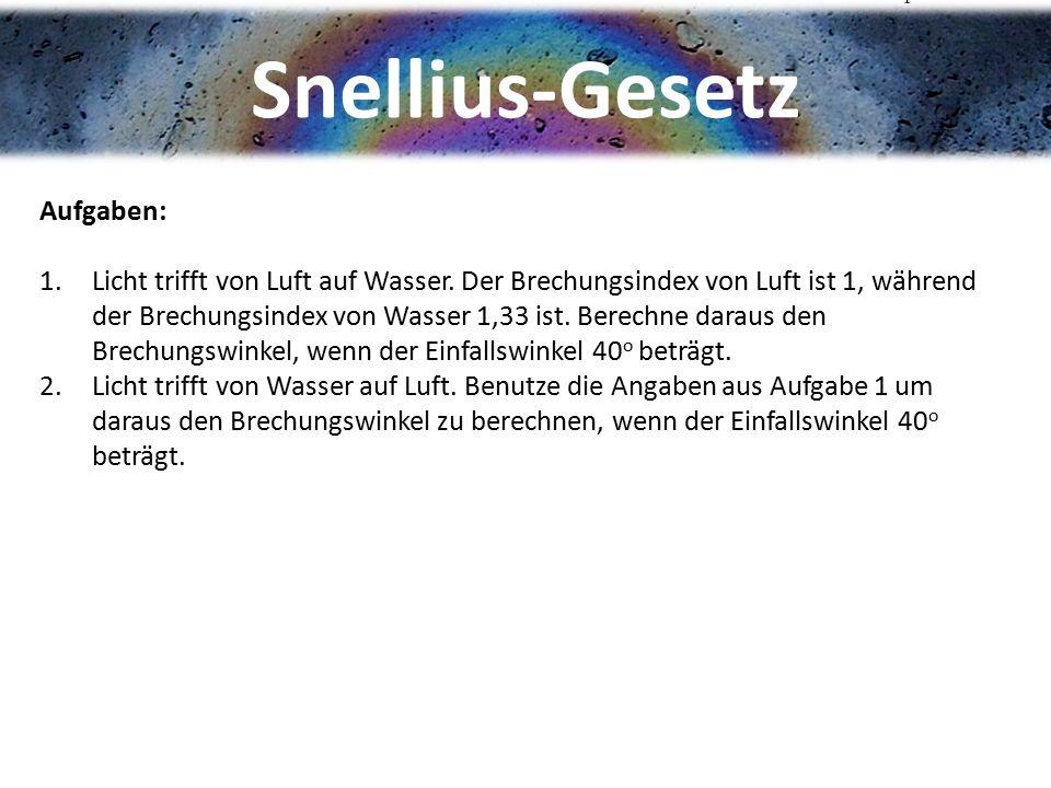 Snellius-Gesetz Aufgaben: