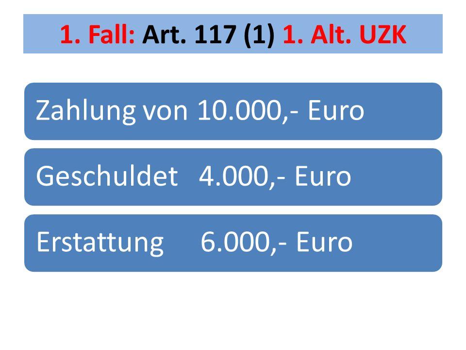 Zahlung von 10.000,- Euro Geschuldet 4.000,- Euro