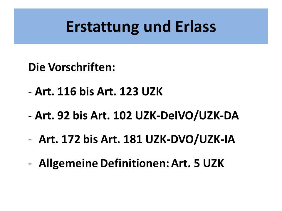 Erstattung und Erlass Die Vorschriften: - Art. 116 bis Art. 123 UZK