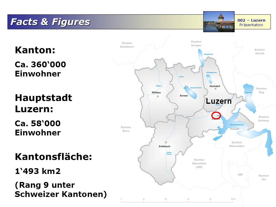Kanton: Hauptstadt Luzern: Kantonsfläche: Ca. 360'000 Einwohner