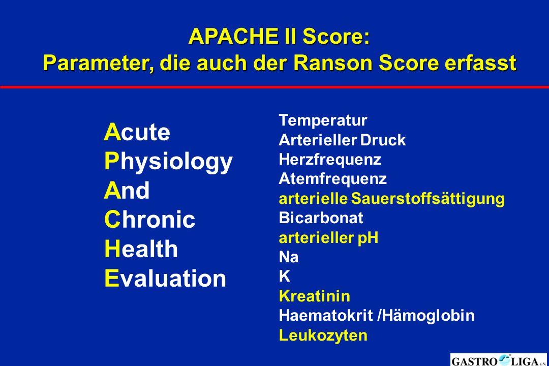Parameter, die auch der Ranson Score erfasst