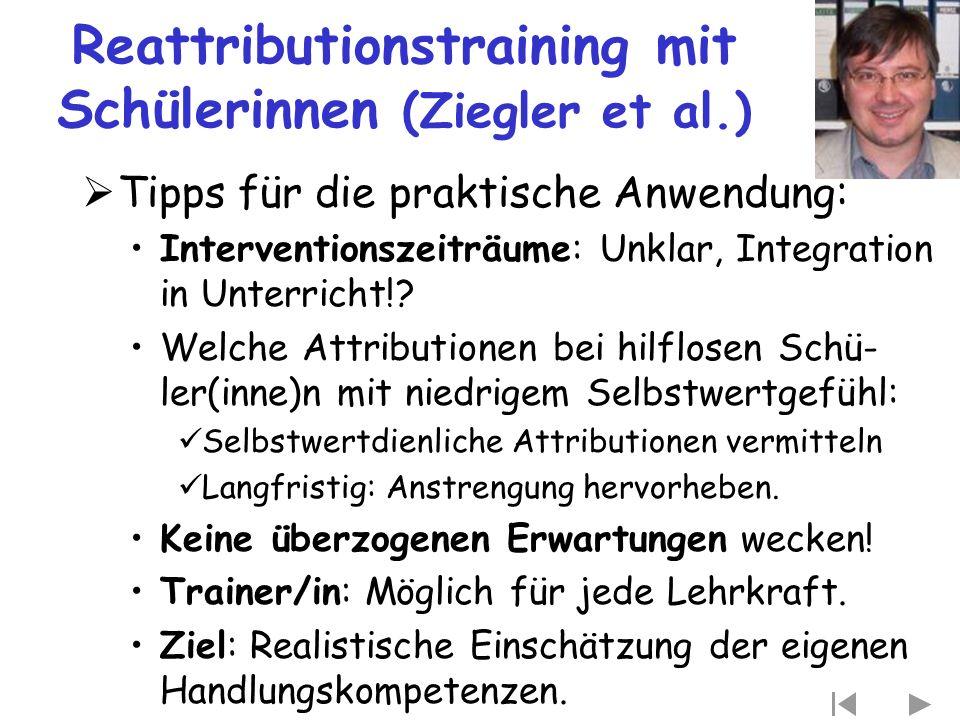 Reattributionstraining mit Schülerinnen (Ziegler et al.)