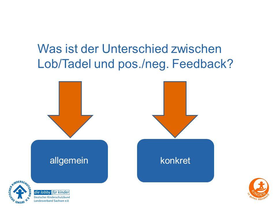 Was ist der Unterschied zwischen Lob/Tadel und pos./neg. Feedback