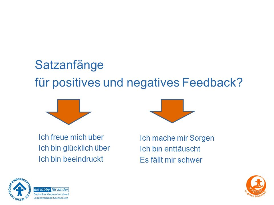 für positives und negatives Feedback