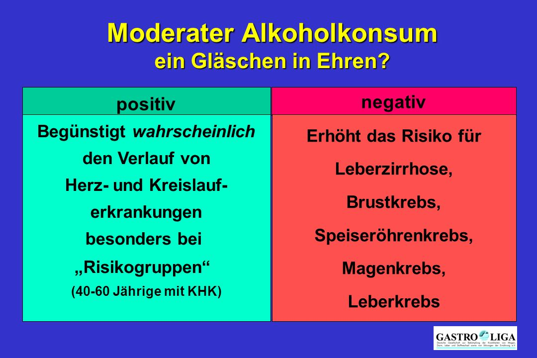 Moderater Alkoholkonsum Begünstigt wahrscheinlich