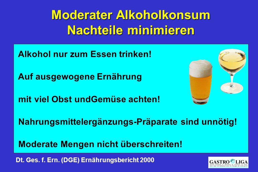 Moderater Alkoholkonsum Nachteile minimieren