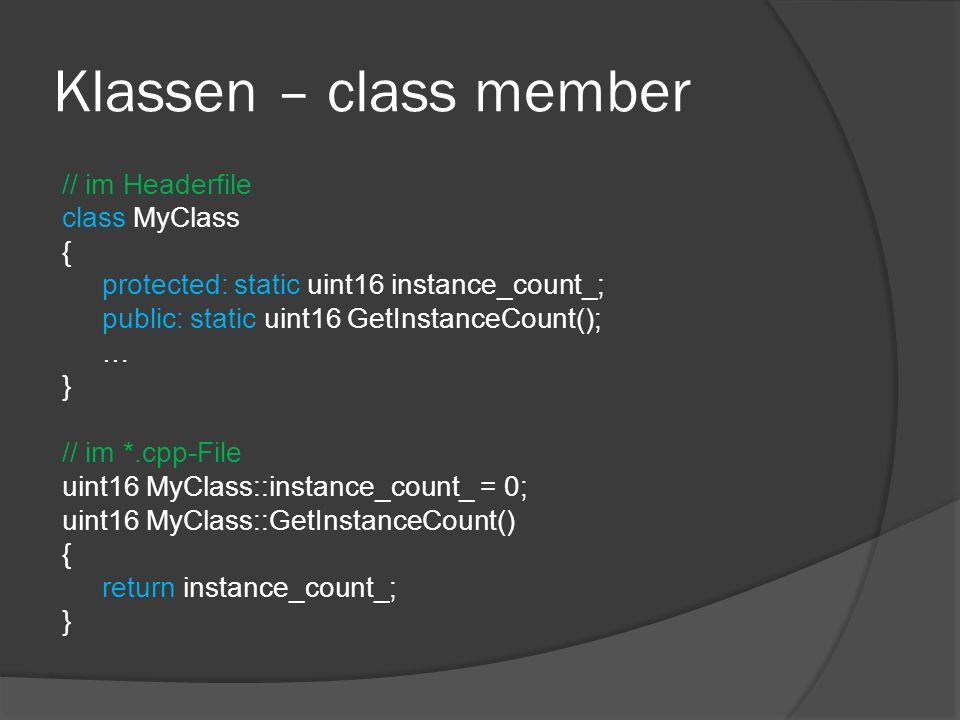 Klassen – class member