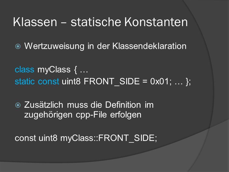 Klassen – statische Konstanten