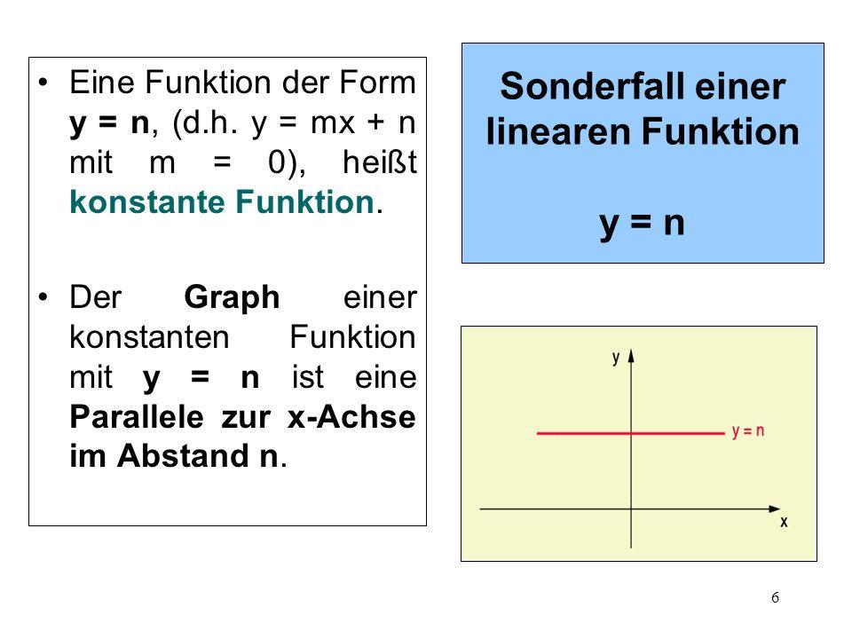 Sonderfall einer linearen Funktion y = n