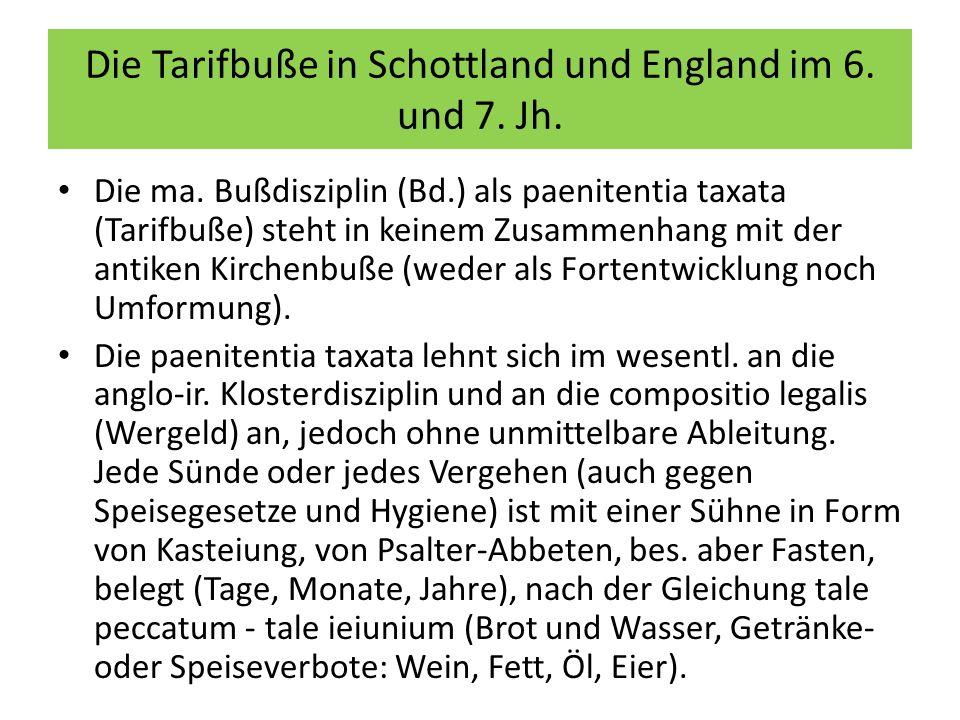 Die Tarifbuße in Schottland und England im 6. und 7. Jh.