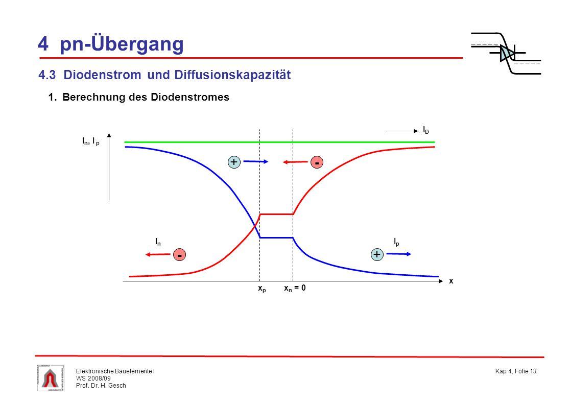 4 pn-Übergang + - 4.3 Diodenstrom und Diffusionskapazität