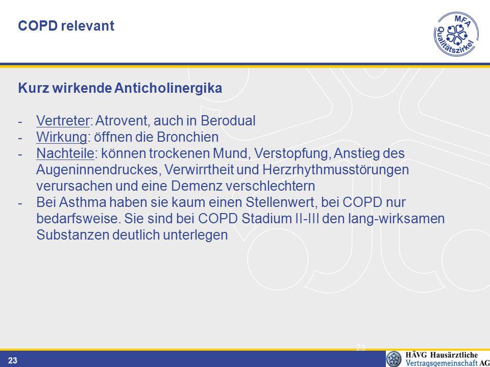 COPD relevant Kurz wirkende Anticholinergika. Vertreter: Atrovent, auch in Berodual. Wirkung: öffnen die Bronchien.