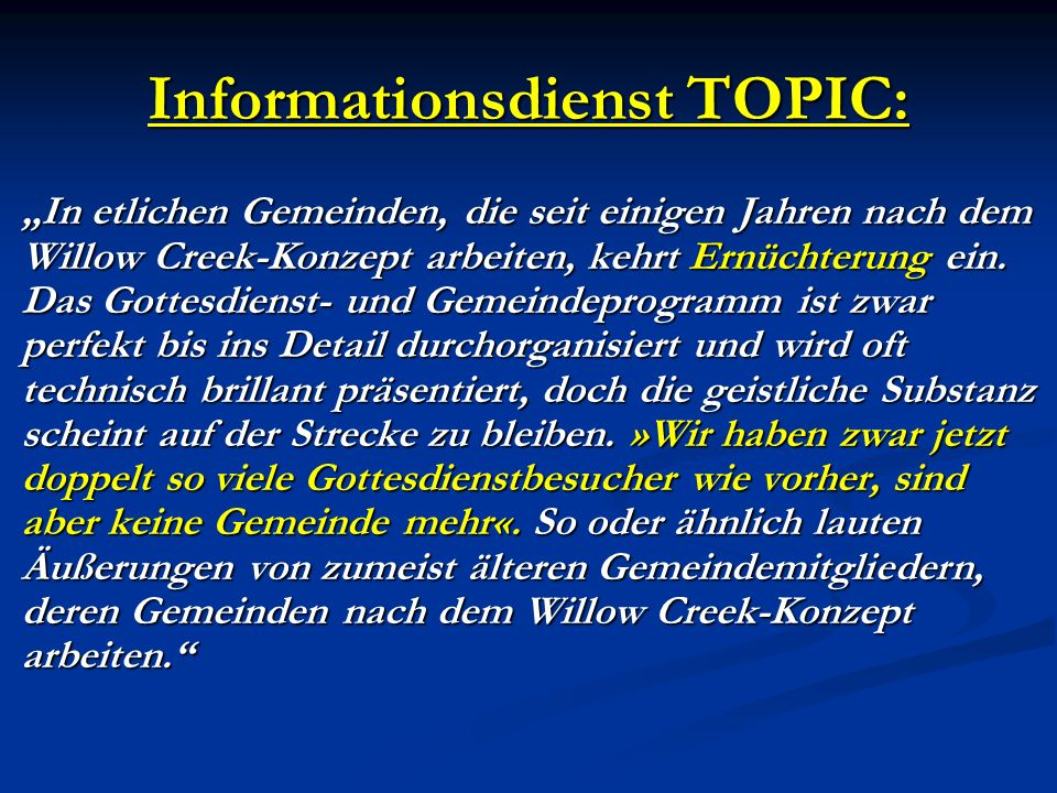 Informationsdienst TOPIC: