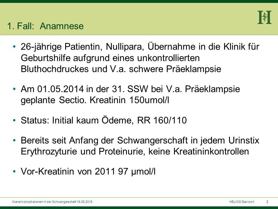 Labor bei Aufnahme: Urin-Status und Sediment: Elyte normwertig