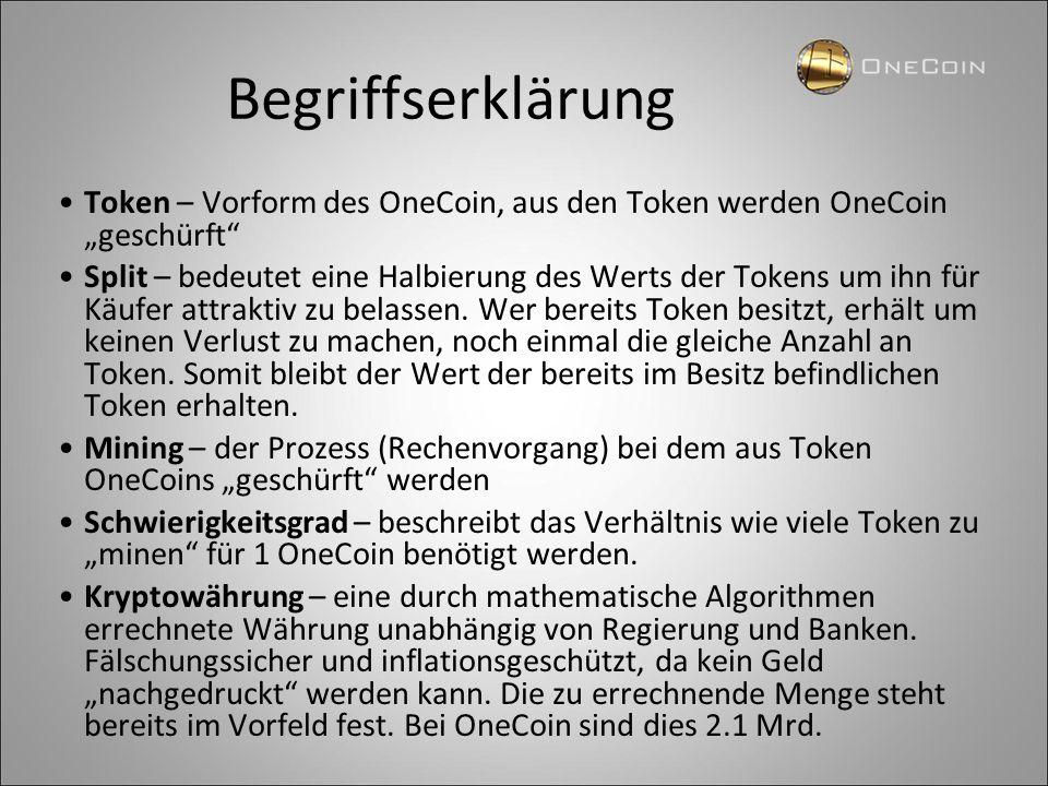 """Begriffserklärung Token – Vorform des OneCoin, aus den Token werden OneCoin """"geschürft"""