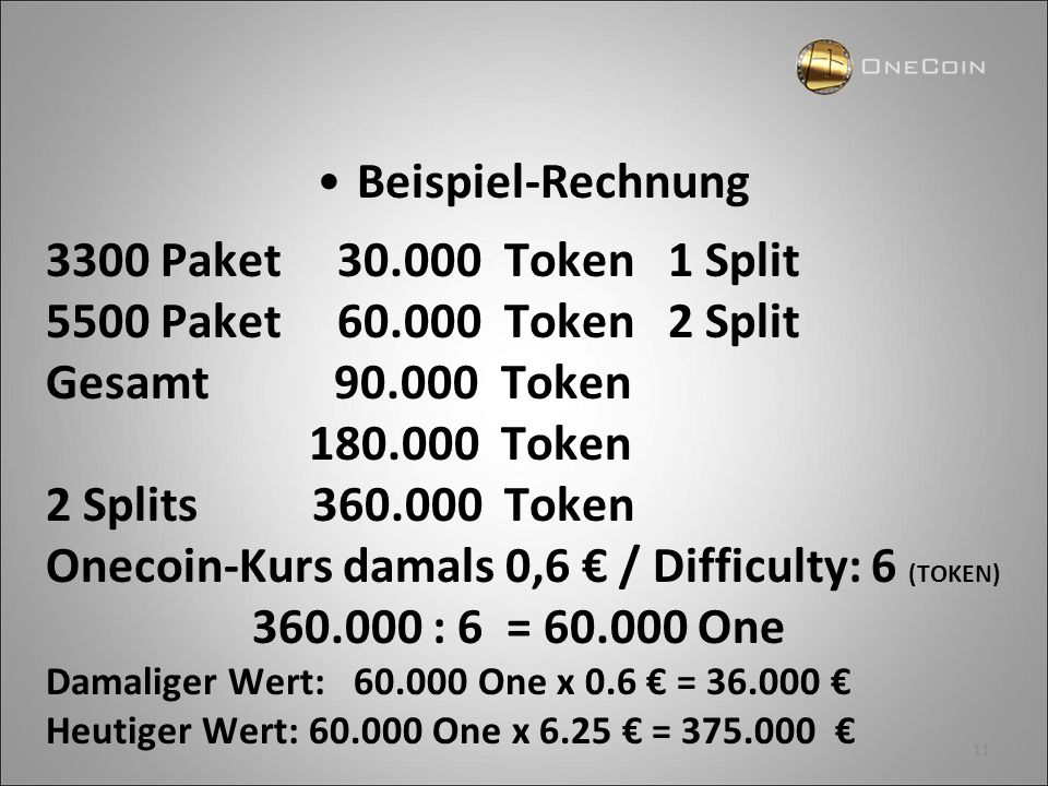 Onecoin-Kurs damals 0,6 € / Difficulty: 6 (TOKEN)