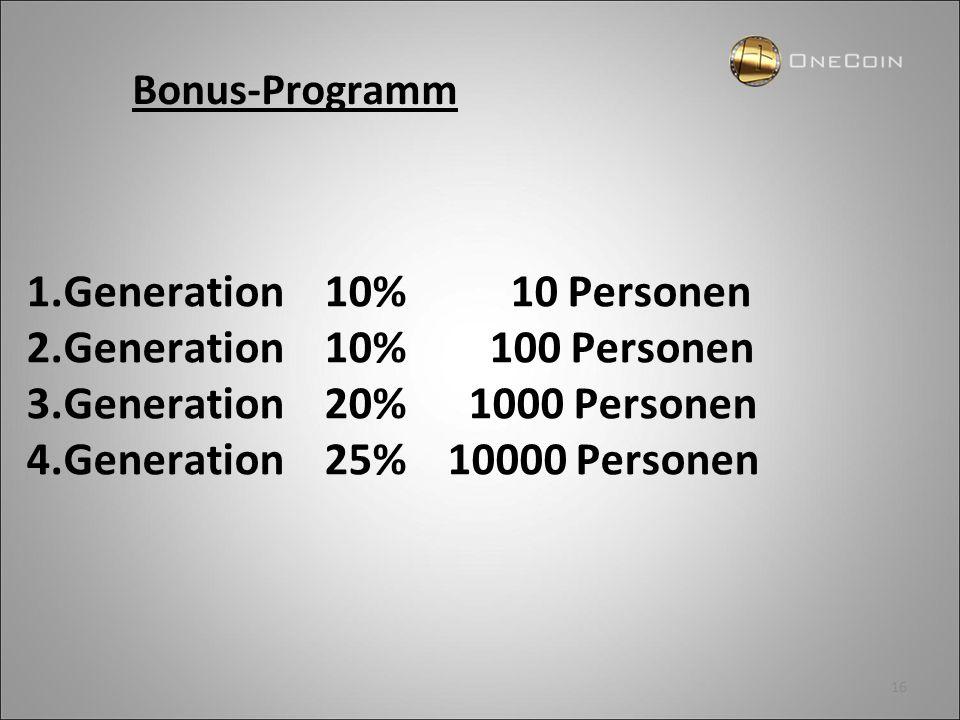 1.Generation 10% 10 Personen 2.Generation 10% 100 Personen