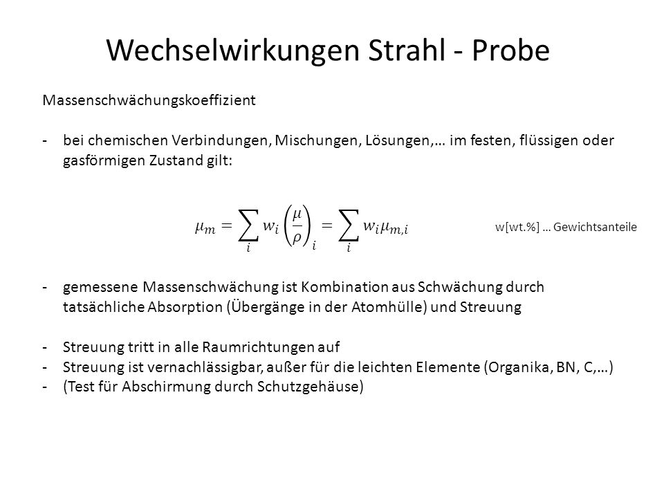 Wechselwirkungen Strahl - Probe